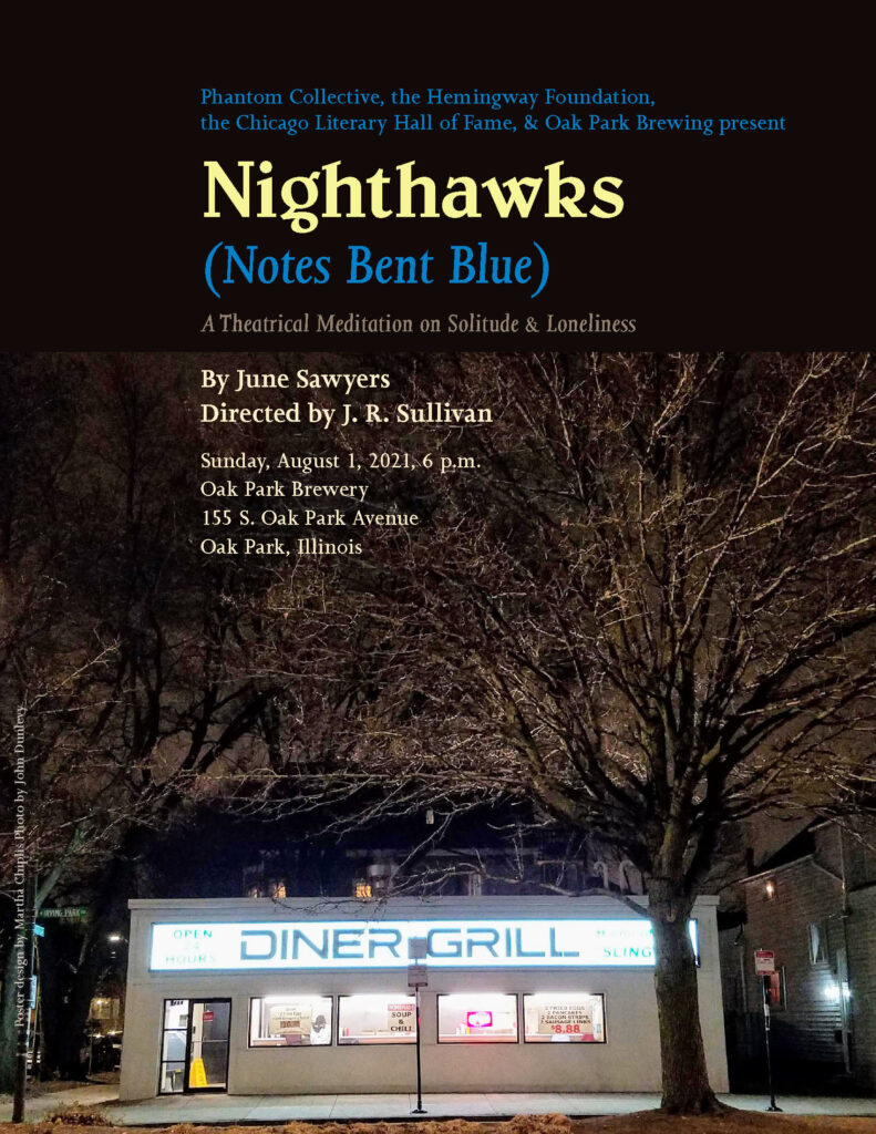 Poster for Nighthawks (Notes Bent Blue) Blue and yellow type with photo of an empty diner with trees by John Dunlevy